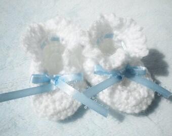 Crocheted Baby Booties Newborn Boy Blue Ribbon