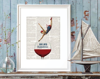 Red Wine, Red White Blue, Wine Digital Prints, Kitchen Prints, Wine Art Prints, Wine Lover Art, Beach Decor, Swimmer,