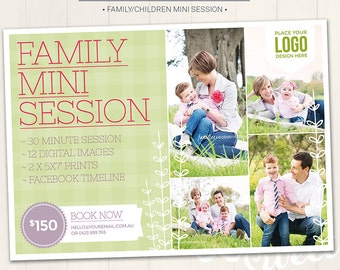Photography Marketing Board / Family Mini Session - Photoshop Template for photographers (DM4F) - INSTANT DOWNLOAD