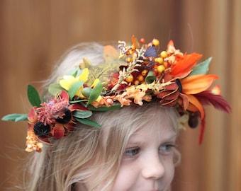 tie back floral crown,little girl crown,adult floral,fairy crown,floral wreath, rustic floral crown