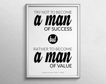 Man of Value Poster Print, Poster Print, Man of Value and Success by Albert Einstein, Quote Printable Quote Poster, Typography Poster