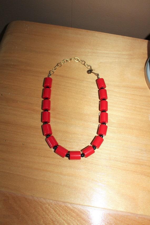Vintage Cherry Red and Black Bakelite Necklace 1930s Art Deco Jewelry