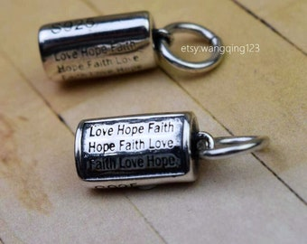 2 sterling silver love hope faith charms pendants
