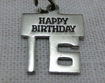 WELLS - HAPPY BIRTHDAY Sweet 16 Sterling Silver Charm
