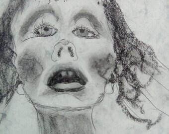 Young fear, graphite pencil, 250 gram board.