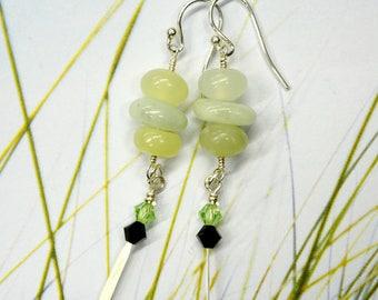 Australian Phrenite & Burmese Jade sterling Silver earrings - Swarovski crystals - gemstone Designer artisan- LONG