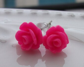 Tiny Hot Pink Rose Earrings