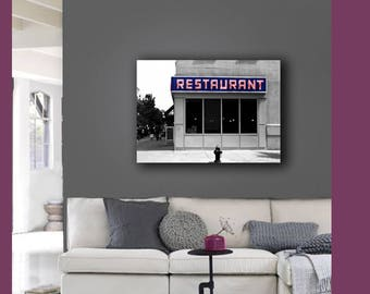Seinfeld Diner, New York Canvas, Large Wall Art Canvas, Seinfeld Art, Gray, Blue, Red, Canvas Wall Art