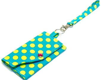 Key Ring Clutch Wallet with Wristlet or Lanyard Options -- Teal with Lime Dots