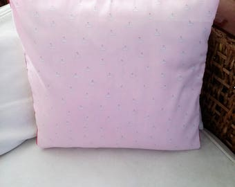 Pink little boat Cushion cover with piping 40 x 40 cm, girl room decoration.