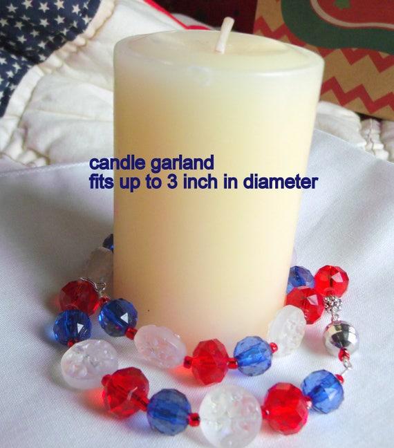 Red blue candle garland - new England sport colors -   patriotic design - grab gift- farmhouse decor - candle bling - Lizporiginals