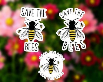 Save The Bees Sticker ( Bee Colony, Honey, Animal Rights, Activism, Save the Bees Campaign, Bee Decals for Laptops, Computers, Car Stickers)