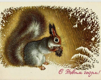 Squirrel, Christmas, New Year, Winter, Vintage  Russian Postcard 1977