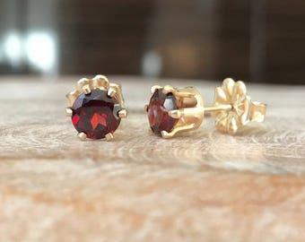 Garnet Stud Earrings in Gold or Silver