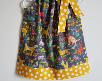 Pillowcase Dress with Animals Michael Miller Backyard Friends Girls Dresses with Animals Summer Dresses Cute Kids Clothes with Animals