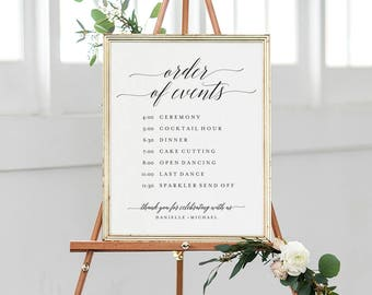 Order of Events Sign, Wedding Timeline Sign, Wedding Sign, Wedding Itinerary, Bliss Paper Boutique, PDF Instant Download #BPB310_84