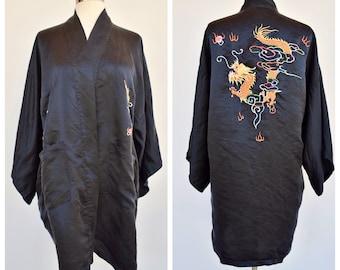 asian style DRAGON black robe