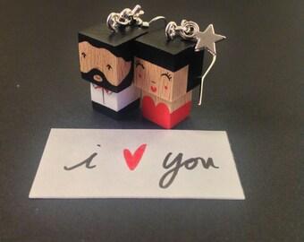 """Boucles d'oreilles figurines cubiques """"lovers"""" couple chic"""
