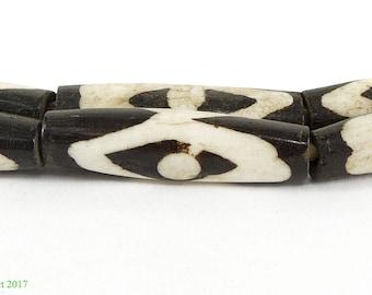 Mudcloth Batik Bone Beads Long Cylinders Africa 117264