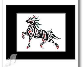 "Haida Style Horse Art Print - ""Whitehorse"" -  Pacific Northwest Coast Style Art Print - 8x10"