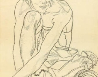 "Schiele Egon, 63, Lithograph, ""Woman crouching"""