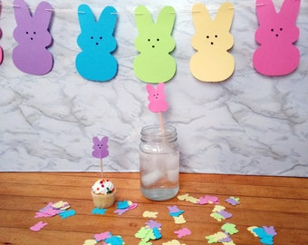 Peeps Party Kit with confetti, garland, drink stirrers, & cupcake toppers
