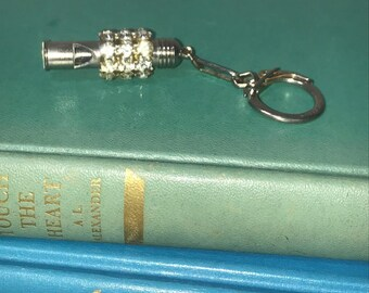 Vintage Rhinestone Silver Whistle Made in Italy