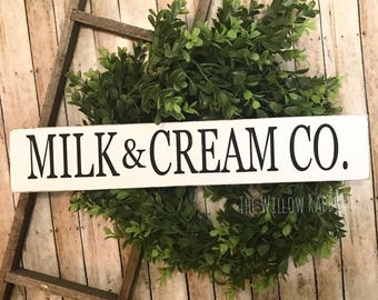 Milk and Cream Co | Farmhouse Decor | Rustic Decor | Dairy Fresh | Milk and Cream Co Sign | Farmers Market | Farmhouse