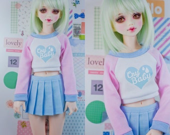Slim MSD Minifee or SD BJD Crop Sweater - Cry Baby Heart