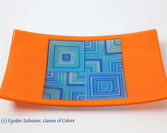 """A rectangular fused glass plate """"Velvet Squares""""; Decorative Plate; High quality. Professional look; Food safe; art glass"""