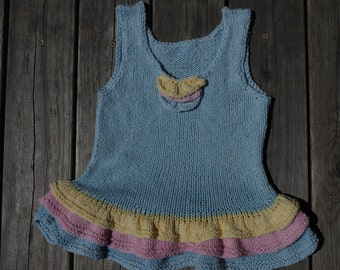 Girls Cotton Tunic, short dress. Very SOFT, with ruffle, size 6 y.o. Hand knitted.