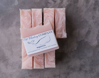 EIGHT Magnolia Bar Soap || FREE SHIPPING / southern magnolia / pink bar soap / natural soap / handmade / cold process / thank you gift