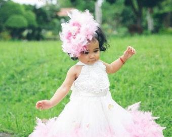 The Original ....... Girls Classic Fluffy Feather Rosette Dress, Feather Dress, Princess Dress