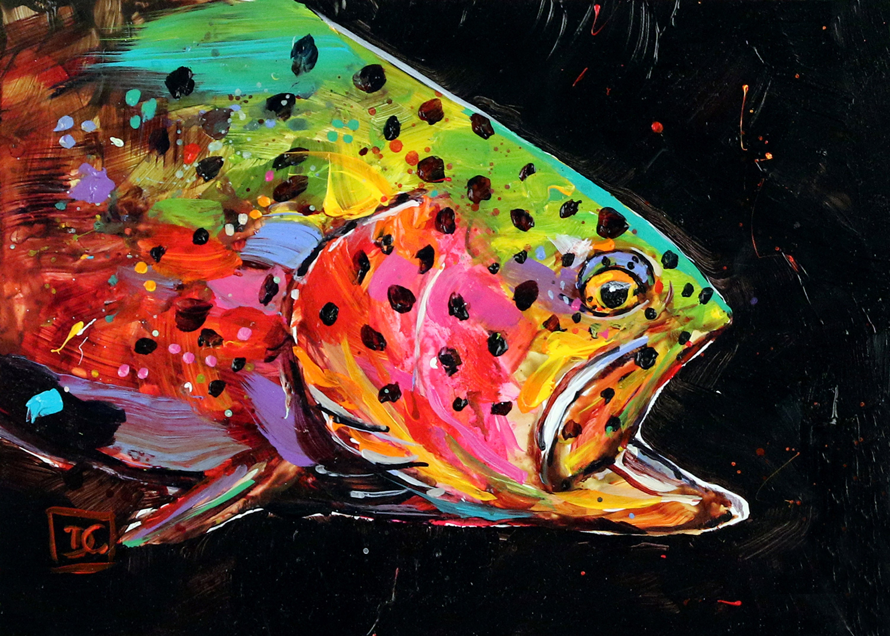 TROUT Abstract Colorful Fish print by Dean Crouser