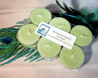 Patchouli Scented Soy Tea Light Candles 6pk Green