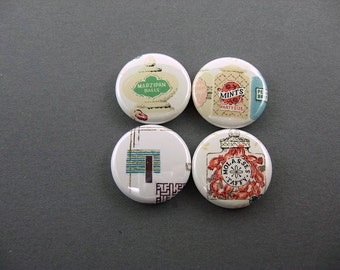 The Candy Store Retro Treats  -  4 Fridge Magnets - red, green, yellow, white, marzipan, mints, taffy - 1203