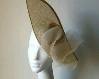 Beige Sinamay Hat with Crin Bow, Sinamay Hat, Sinamay Pamela, Wedding Hat, Events Hat, Races Hat, Derby Hat, Ascot Hat, Party Hat
