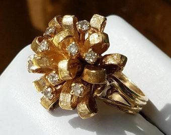 1950s Era 14K Yellow Gold Diamond Bombé Ring