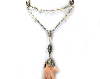 Upcycled Antique Doll Hand Necklace Altered Heirlooms by Nouveau Motley Czech Glass Black and Cream Swarovski Pearls Silver Filigree