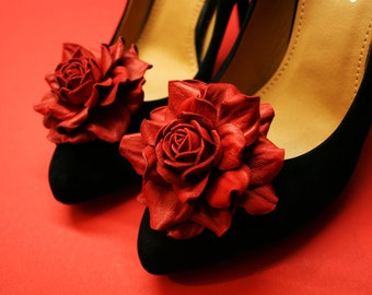 Red Leather Flower Shoe Clips