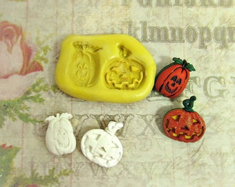 pumpkin mold,Jack O Lantern mold,flexible Silicone mold,push mold, food supplies mold, clay supplies molds, # 32s