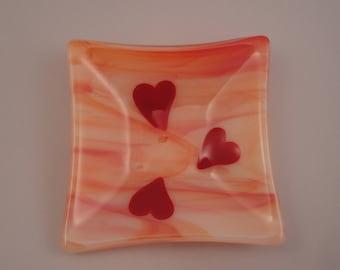 Valentine Fused Glass Hearts ring/Trinket Dish - 04103