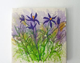 Textile art canvas, cottage garden floral art canvas, hand painted & stitched wall art, machine embroidery. Wall or shelf display.