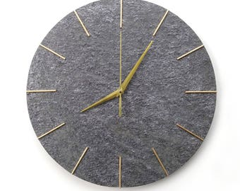 Large Wall Clock 38cm/15in Natural Stone Surface Modern Wall Clock Grey Gold Color Minimalist Design Wall Art
