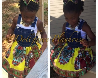 Toddler Overalls Dashiki Dress | Claire & Bellas Collection