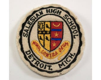 Vintage Salesian High School Detroit Michigan Sew On Patch