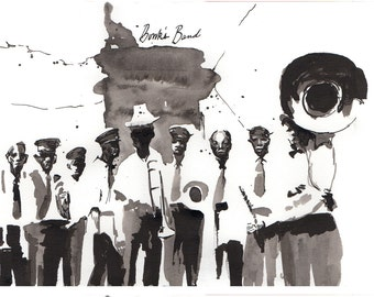 Print of New Orleans Jazz legend, Bunk Johnson and his band