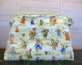 Storybook Village Animals, Jumbo Project Bag, Extra Large Knitting Project Bag, Zippered Knitting Bag, Crochet Project Bag, Yarn Tote
