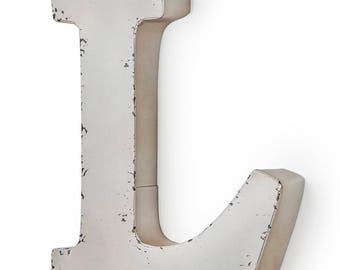 Antique ivory-colored metal letter L 27X5X30 cm