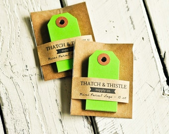 Mini Parcel Tags in Bright Green - 10 Count -  2.75 Inch Gift Kraft Shipping Cute Party Gift Wrapping Pretty Packaging Embellishment Small